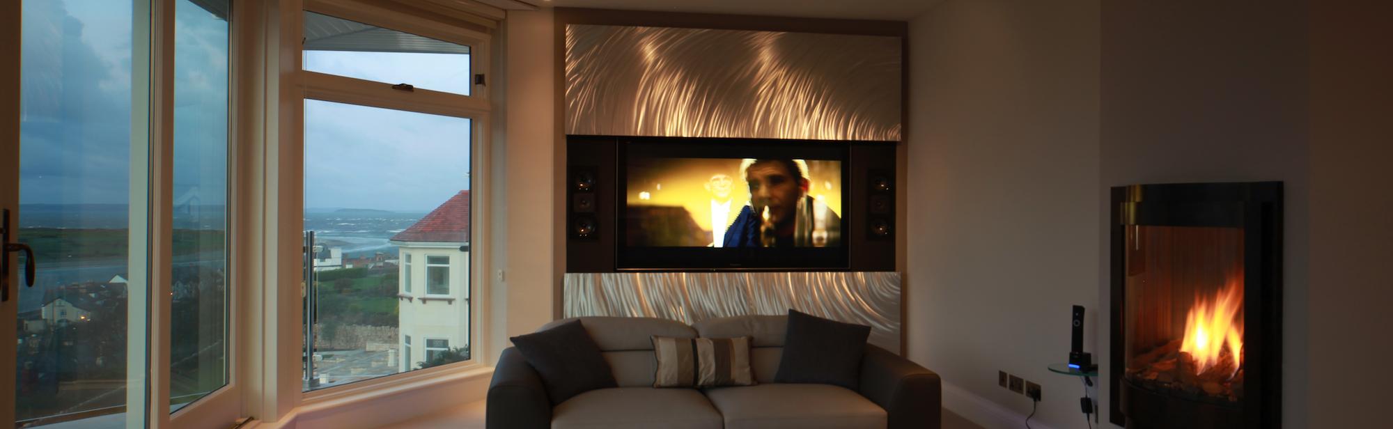 TV hidden behind electric artwork Lift